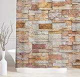 NYMB Marmor-Duschvorhang, Urban Brick Slate Stone Wall with Rocks, Featured Fassade Architecture, Town Bild, Stoff Badezimmer-Zubehör-Set mit Haken, 177,9 x 177,8 cm