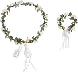 Beaupretty Hochzeitskranz Blumen Lebensechte Girlande Braut Haar Kranz Frauen Kopfbedeckung für Party Hochzeit Geburtstag mit Einem Blumenarmband Weiß