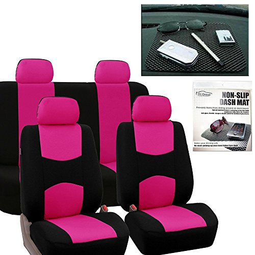 FH Group FB050114 Flat Cloth Seat Covers (Pink) Full Set with Gift – Universal Fit for Cars Trucks & SUVs
