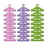 Zliger 30 Piezas Perchas de Plástico Muñecas Perchas de Ropa Perchas Doll Rosado Verde Púrpura Perchas de Plástico para Muñecas Clothes