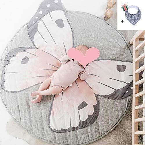 Krabbeldecke für Baby, Morbuy Kinder Schlafbereich Teppich Kuschelige Cartoon Spielmatte Runde Teppich Dekoration für Kinderzimmer Crawl Spielmatte Spiel Gym Aktivität Rosa grauer Schmetterling