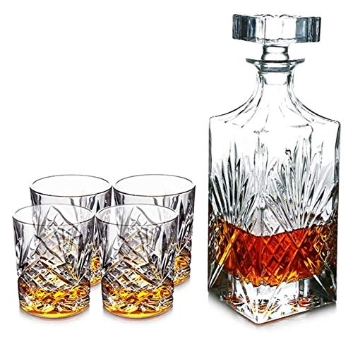 KEKEYANG Set da Regalo per Decanter di Whisky da 5 Pezzi, Decanter di Vetro di Cristallo con 4 Bicchieri di Whisky, per Vino, Whisky decan, Decanter di liquori, Scotch o Spiriti 750ml Decanter