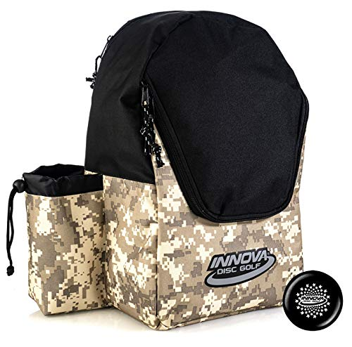 Innova Discover Pack Backpack Disc Golf Bag – Holds 15 Discs – Lightweight and Easy to Carry – Includes Innova Limited Edition Stars Mini Marker (Camo/Black)