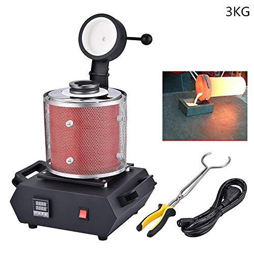 S SMAUTOP 3 KG Goldschmelzofen 1200℃ Automatische Digitale Schmelzmaschine für Schmelzschrott Silber Gold Zinn Aluminium (Mit Schutznetzwerk)