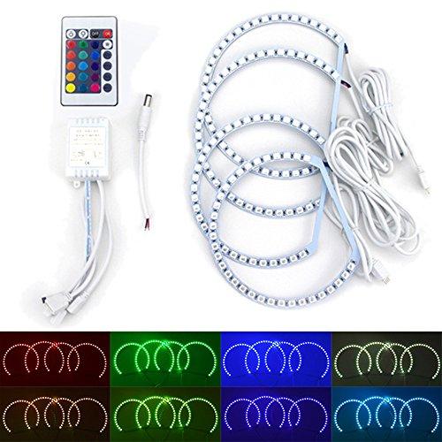 PolarLander 2x131mm + 2x146mm RGB LED Ange Eyes Phare Contrôleur RF avec Halo Ring Télécommande