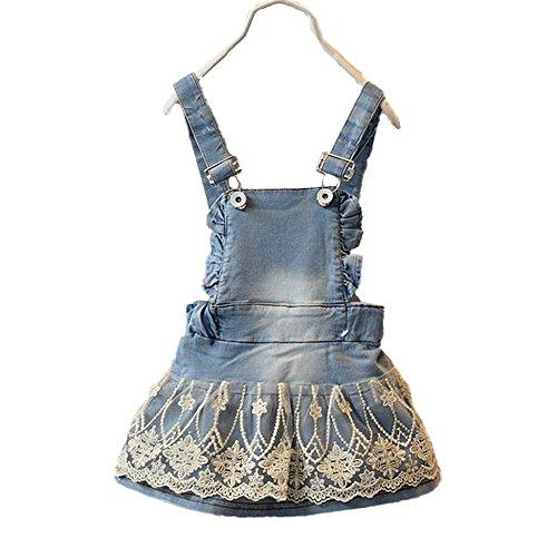 Kidscool Baby & Little Girls Cotton Denim Adjustable Overalls Dress,Cardigan Style,3-4 Years