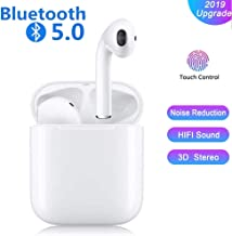 Bluetooth Headphones Auto Pairing Earphones Touch Earbuds Bass Stereo Earpieces Cordless Audio Earphones Mini in-Ear Sport Headsets and Charging Case for iOS iPhone Android Galaxy Sumsung