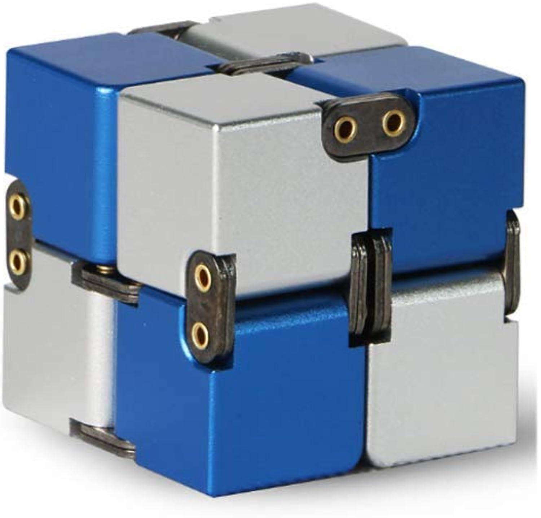 Aluminum Alloy Infinite Rubiks Cube Decompression Artifact Flip Pocket Square,starryskyblueeandwhite-rivettype