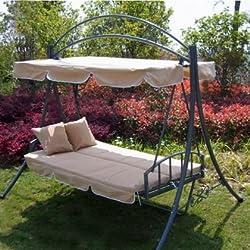 Loywe Hollywoodschaukel Mit Bettfunktion, 3-Sitzer Gartenschaukel Gartenliege, 218x215x160cm, mit Sonnendach und 2 Kissen, LW51 (Beige)