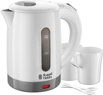 Russell Hobbs 23840-70 旅行电水壶,适应全球电压,包括 2个杯子,2个茶匙,0.85升,1000瓦,白色