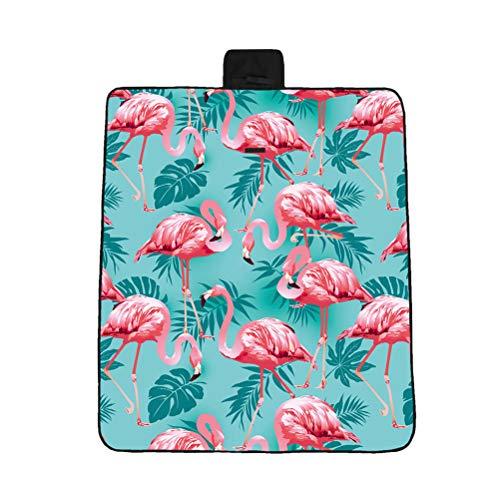 BESPORTBLE 3D Flamingo Druckmuster Faltbare Picknickdecke Strandkissen Kleine Verdickte Außenmatte (Blau 148X122 cm)