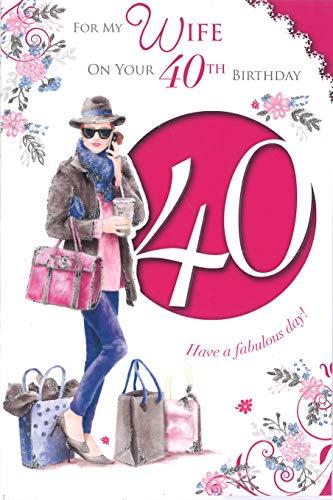 Xpress Yourself naar mijn mooi vrouw gelukkig 40e verjaardag medium grootte stijl verjaardagskaart