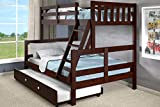 Donco Kids Austin Bunk Bed, Twin/Full/Twin, Dark Cappuccino