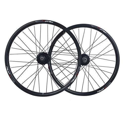 Ruedas BMX Juego Ruedas Bicicleta 20 Pulgadas Llanta Aleación Doble Pared Freno Disco QR 8/9/10 Velocidad Tarjeta Hub para Bicicleta Plegable 32H (Color : Black)