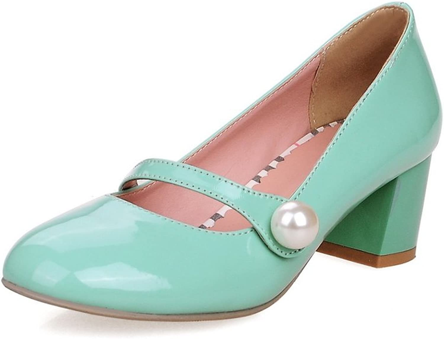 1TO9 Womens Chunky Heels Low-Cut Uppers Round-Toe Leather Pumps shoes MMS04337