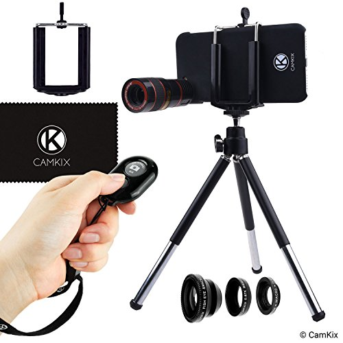 CamKix Camera Lens Kit Compatible with iPhone 6 / 6S - incl. 8X Telephoto Lens/Fisheye Lens/Combined Macro Lens and Wide Angle Lens/Tripod/Phone Holder NOT Compatible with iPhone 6 / 6S Plus