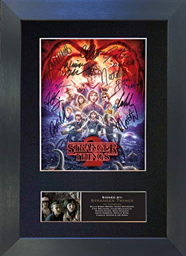 STRANGER THINGS Signed Autograph Mounted Photo Reproduction PRINT A4 Rare Perfect Birthday (297 x 210mm) #743 (Black Frame)
