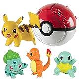 Pokemon Ball - Juego de 4 figuras de acción de Pikachu para niños y niñas (rojo)
