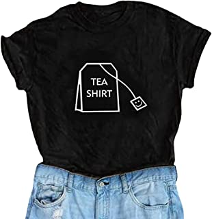702f81f413d86 Holata Women Girl Funny Short Sleeve Cotton Shirts Cute Junior Graphic Tee  Top Blouse