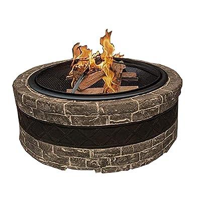 Fire Pit Fire Pit, 35-inch Outdoor Wood Burning fire Pit, Steel Grill fire Pit Bowl, Courtyard Backyard Garden fire Pit by Lijack