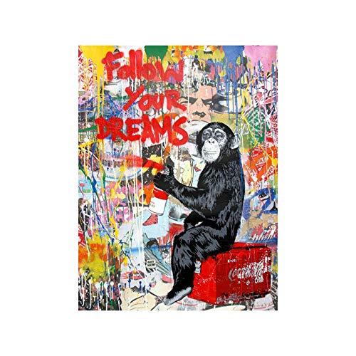 Monkey Street Gemälde Leinwand Bild Mr Brainwash Banksy Poster und Kunstdrucke Abstrakte Leinwand Wand Bilder Wohnzimmer Home Wanddekor Bild 40 × 50cm Rahmenlos