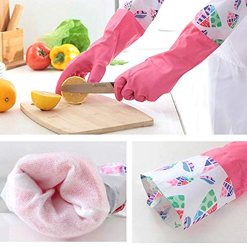 Product Image 5: KINGFINGER Rubber Latex Waterproof Dishwashing Gloves,2 Pair Medium Long Cuff Flock Lining Household Cleaning Gloves