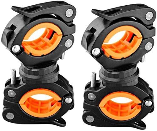 Vonpri 360 Gradi Rotante Bici Manubrio Supporto per Torcia Staffa (Arancia 2 Pack)