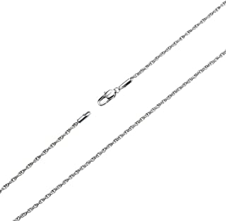 Silver Twist Rope Chain Necklace, 2mm Titanium Steel Womens Mens Chain Necklace 16-30 Inch