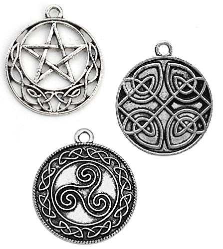 Celtic Charms, 60 pc (20 of Each) Antiqued Silver Tone Pendants, Pentagram Knot and Spiral Triskelion