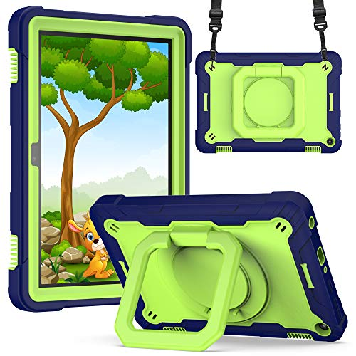 Billionn Capa compatível com tablet Kindle Fire HD 8 e tablet Fire HD 8 Plus (10ª geração, 2020), capa protetora com suporte giratório com alça de ombro - azul marinho/verde amarelo
