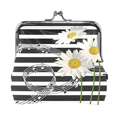 Daisy Flower - Monedero con diseño de rayas, color negro