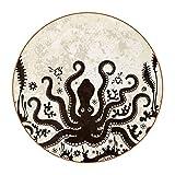 Bennigiry - Sottobicchieri rotondi in pelle, resistenti al calore, motivo: polpo marino, Kraken, in vetro, 6 pezzi