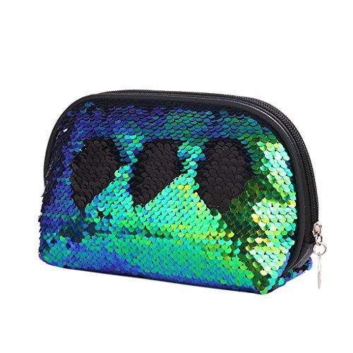 Dabixx donne paillettes astuccio per cosmetici e portamonete con zip bag-silver blu, Green Black, 20.5x5x12cm/8.07x1.97x4.72