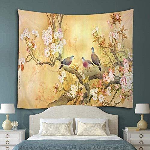 Yhjdcc Tapiz para colgar en la pared, diseño de flores y pájaros, decoración del hogar, toalla de playa, esterilla de yoga, manta de picnic, mantel, 150 cm x 200 cm