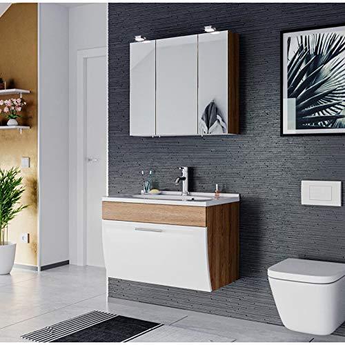 Mueble de baño Salona de 2 piezas | lavabo de 70 cm + armario con espejo LED | roble y blanco