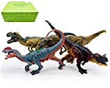 Gemini&Genius Standing and Movable Jaw Allosaurus Dilophosaurus Ceratosaurus Carnotaurus Jurassic World Dinosaur Figurines Ideal Christmas New Year Gift Choice, Dino Collection Gift Box 4 Pcs Toy Set