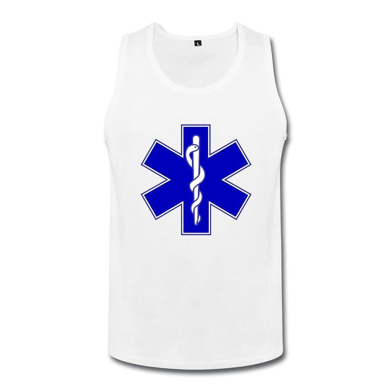 智航 メンズ EMS 救急のサービス タンクトップ 丸首 綿 ロゴ Uネック