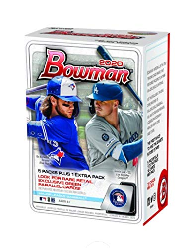 2020 Bowman MLB Baseball Factory Sealed Retail Blaster Box. Chase rookie card autos of Luis Robert, Yordan Alvarez, Gavin Lux, Bo Bichette. Find star cards of Mike Trout, Bryce Harper and many more. Chase first Bowman cards and Autos of Yankees prospect Jasson Dominguez and Rangers Bobby Witt Jr. Free Bonus pack of Leaf Draft 2020 where you could pull a Joe Burrow Gold Card FREE SHIPPING IN MY ENTIRE STORE WITHIN USA with purchase