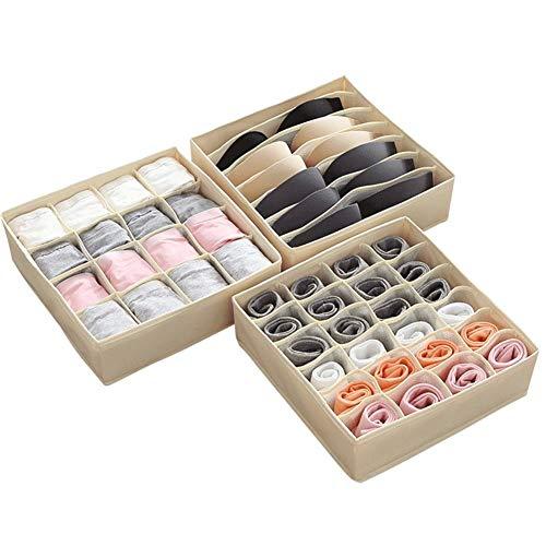 Yadass 3 er Set Schrank Organizer, Faltbox für Schubladen Schrank Tische Ordnungssystem, Kleiderschrank Organizer für Aufbewahren Socken, Schals, Büstenhalter- Beige