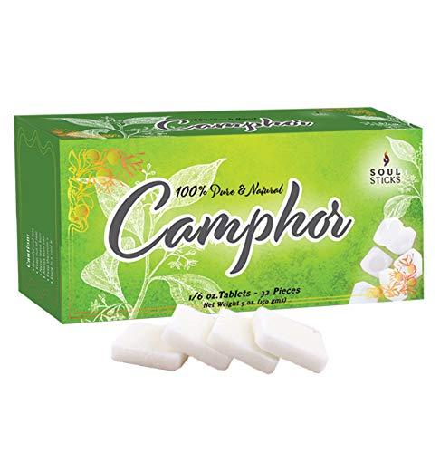 Soul Sticks Camphor Tablets | Premium Quality Refined Camphor Blocks 100% Natural for Aromatherapy, Odor Eliminator, Puja, Alcanfor | 32 Tablets (150 Grams)