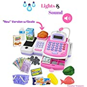Paradise Treasures Electronic Cash Register Toy with Scale scanner and Credit Card Reader Realistic Actions & Sounds learning toy cash register for girls (Updated 41pc