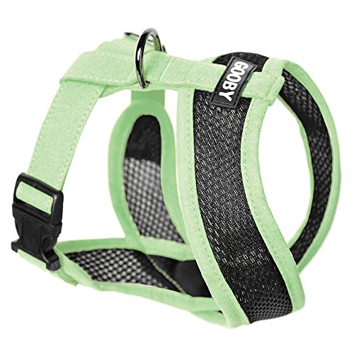 Gooby - Active X Head-in Harness, Choke Free Small Dog Harness with Synthetic Lambskin Soft Strap, Green, Large