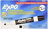 EXPO 82001 Low-Odor Bullet Black Dry Erase Markers For Use On Whiteboards, Glass and Non-porous Surfaces; Ideal for Classrooms, Offices and Homes, Pack of 12