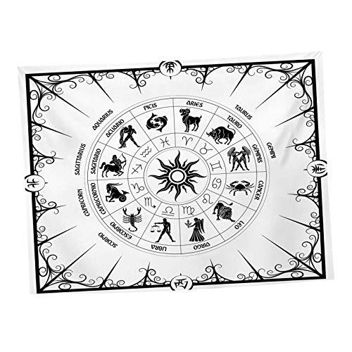 D/L Tapiz de la Bandera del Tarot, Tapiz para Colgar en la Pared de Estilo Medieval en Blanco y Negro, Tapiz místico para decoración de la Pared, tapetes para la decoración de la habitación