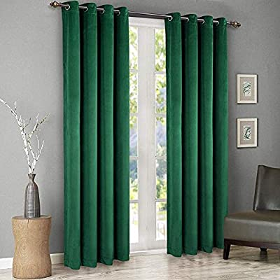 SINGINGLORY Green Velvet Curtains 52 x 96 Inch, Blackout Thermal Insulated Grommet Window Curtain 2 Panels Set for Bedroom and Living Room (W52 xL96, Dark Green)