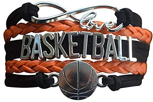 Qws Basketball-Charm-Armband – Infinity Love verstellbares Charm-Armband mit Basketball-Anhänger für weibliche Basketballspieler