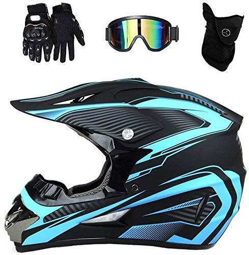 HYRGLIZI Casco de Motocross de Cara Completa para Adultos Negro con Guantes de Gafas (4 Piezas) Conjunto de Casco de Moto Cruzado para niños Casco de Choque de Motocicleta para MTB Downhill Dirt Bike