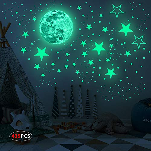 Realistic 3D Glow in The Dark Stickers, 435pcs Luminous Dots Stars and Moon DIY Wall Stickers for Ceiling Or Walls, Glow Brighter and Longer Perfect for Kids Bedroom Living Room Decoration