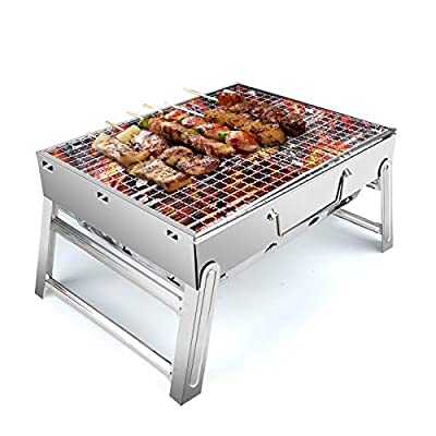 """UTTORA Barbecue Grill, Stainless Steel Portable Folding Charcoal Barbecue Grill, Barbecue Tool Kits for Outdoor Smoker BBQ for Picnic Patio Backyard Camping Cooking 16.3""""x10.8""""x7.7''"""