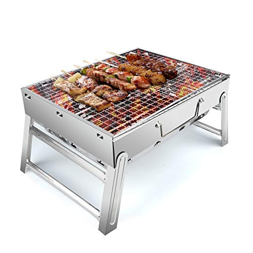 UTTORA Barbecue Grill, Charcoal Grill Portable Folding BBQ Grill Barbecue Desk Tabletop Outdoor...